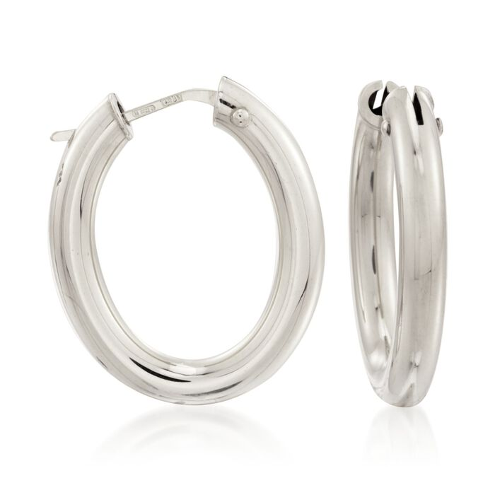 "Roberto Coin 18kt White Gold Hoop Earrings. 1"", , default"