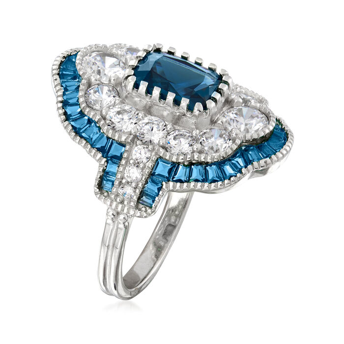 2.38 ct. t.w. Simulated Sapphire and 1.55 ct. t.w. CZ Ring in Sterling Silver