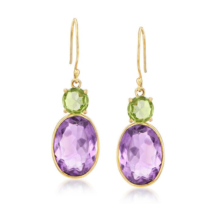 9.95 ct. t.w. Amethyst and Peridot Drop Earrings in 14kt Yellow Gold. Drop Earrings, , default