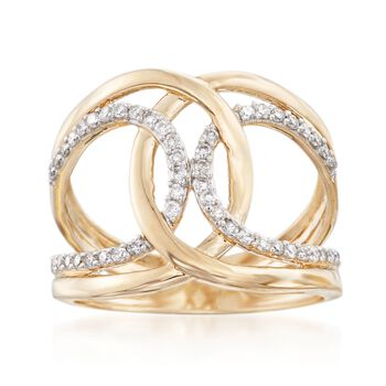 .33 ct. t.w. Diamond Double Loop Ring in 14kt Yellow Gold, , default