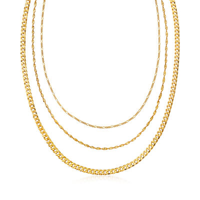 Italian 18kt Gold Over Sterling Multi-Link Layered Necklace