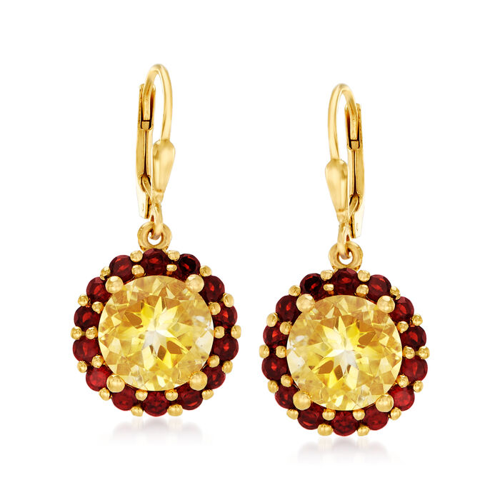 7.00 ct. t.w. Citrine and 2.50 ct. t.w. Garnet Flower Drop Earrings in 18kt Gold Over Sterling