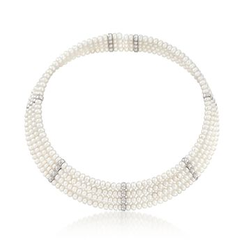 4.5-5mm Cultured Pearl Cuff Choker With Sterling Silver, , default