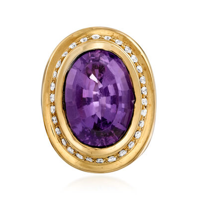 C. 1980 Vintage 12.00 Carat Amethyst and .60 ct. t.w. Diamond Ring in 14kt Yellow Gold, , default