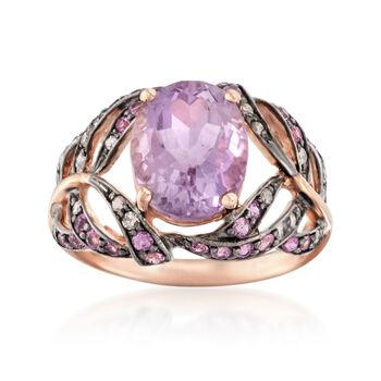 3.26 ct. t.w. Multi-Stone Leaf Ring in 14kt Rose Gold, , default