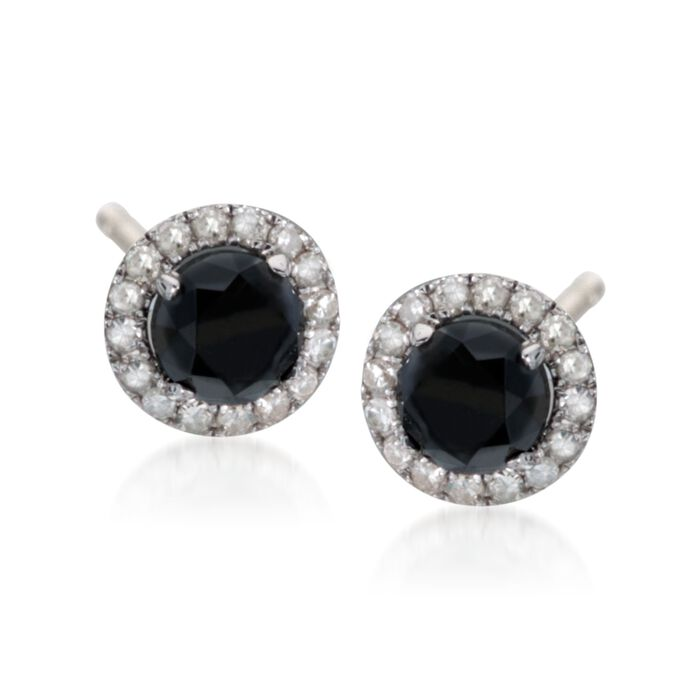 1.40 ct. t.w. Black and White Diamond Halo Stud Earrings in Sterling Silver