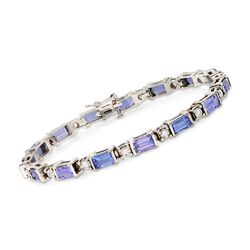 "C. 2000 Vintage 6.75 ct. t.w. Tanzanite and 1.75 ct. t.w. Diamond Bracelet in 18kt White Gold. 7"", , default"
