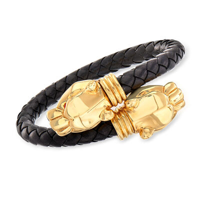 Italian 18kt Yellow Gold Panther Bypass Bracelet with Black Leather, , default