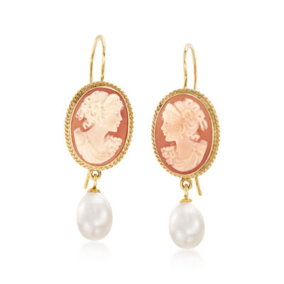 Italian Shell Cameo and 8.5mm Cultured Pearl Drop Earrings in 18kt Gold Over Sterling, , default