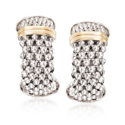 "Phillip Gavriel ""Popcorn"" Sterling Silver and 18kt Gold Hoop Earrings, , default"