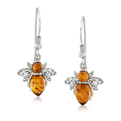 Amber Honeybee Earrings in Sterling Silver, , default