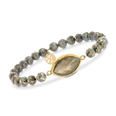 22x15mm Pyrite Triplet and 6-7mm Pyrite Bead Stretch Bracelet in 14kt Gold Over Sterling, , default