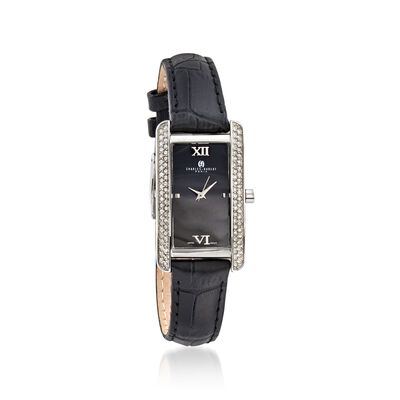 Charles Hubert Women's 30mm Swarovski Crystal Watch with Black Leather Strap, , default