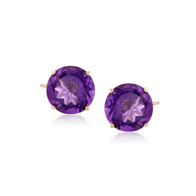 4.20 ct. t.w. Amethyst Stud Earrings in 14kt Yellow Gold, , default