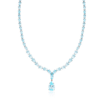 39.25 ct. t.w. Blue Topaz Drop Necklace in Sterling Silver, , default