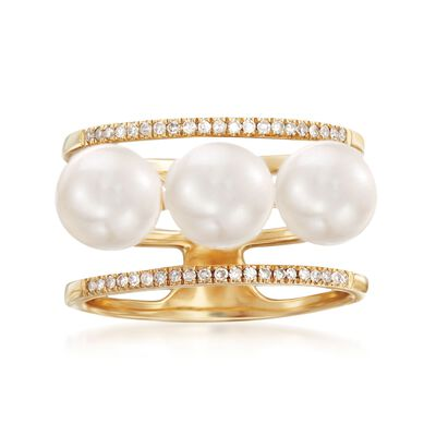 6.5-7mm Cultured Pearls and .14 ct. t.w. Diamond Three-Row Ring in 14kt Yellow Gold, , default