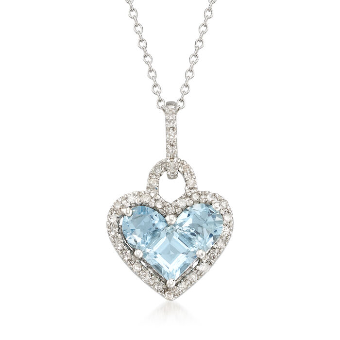 1.80 ct. t.w. Aquamarine and .20 ct. t.w. Diamond Heart Pendant Necklace in Sterling Silver