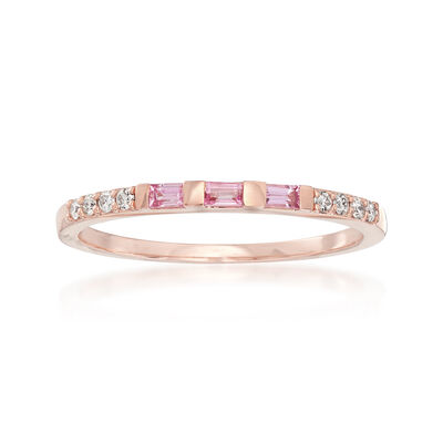 .10 ct. t.w. Pink Sapphire and Diamond-Accented Band in 14kt Rose Gold, , default