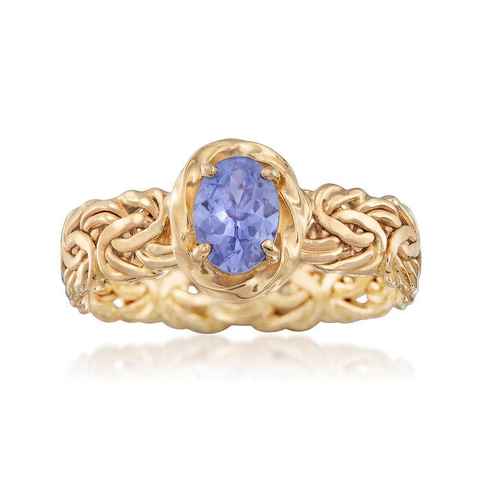 .60 Carat Tanzanite Byzantine Ring in 14kt Yellow Gold, , default