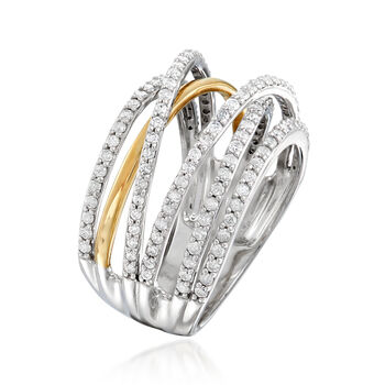 1.00 ct. t.w. Diamond Highway Ring in Sterling Silver with 14kt Yellow Gold, , default