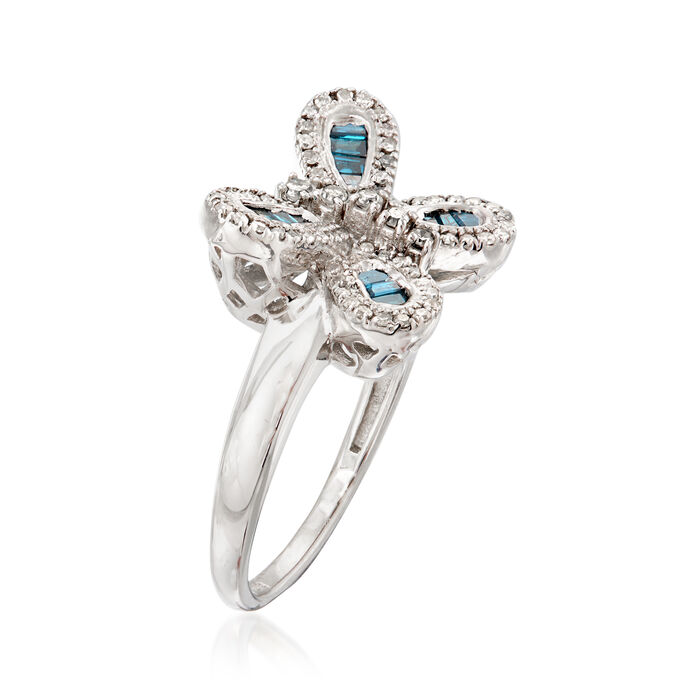 .50 ct. t.w. Blue and White Diamond Butterfly Ring in Sterling Silver