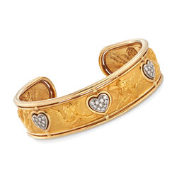 "C. 1990 Vintage .65 ct. t.w. Diamond Heart and Embossed Angel Bangle Bracelet in 18kt Gold. 7"", , default"