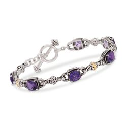 "4.90 ct. t.w. Amethyst Bracelet in Sterling Silver and 14kt Yellow Gold. 7"", , default"