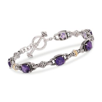 4.90 ct. t.w. Amethyst Bracelet in Sterling Silver and 14kt Yellow Gold, , default