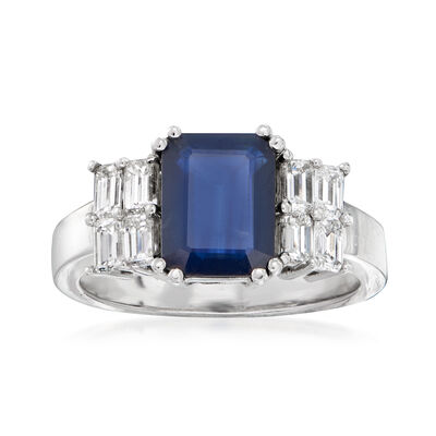 2.60 Carat Sapphire and .96 ct. t.w. Diamond Ring in 14kt White Gold