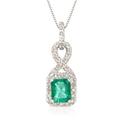 .85 Carat Emerald and .20 ct. t.w. Diamond Pendant Necklace in 14kt White Gold, , default