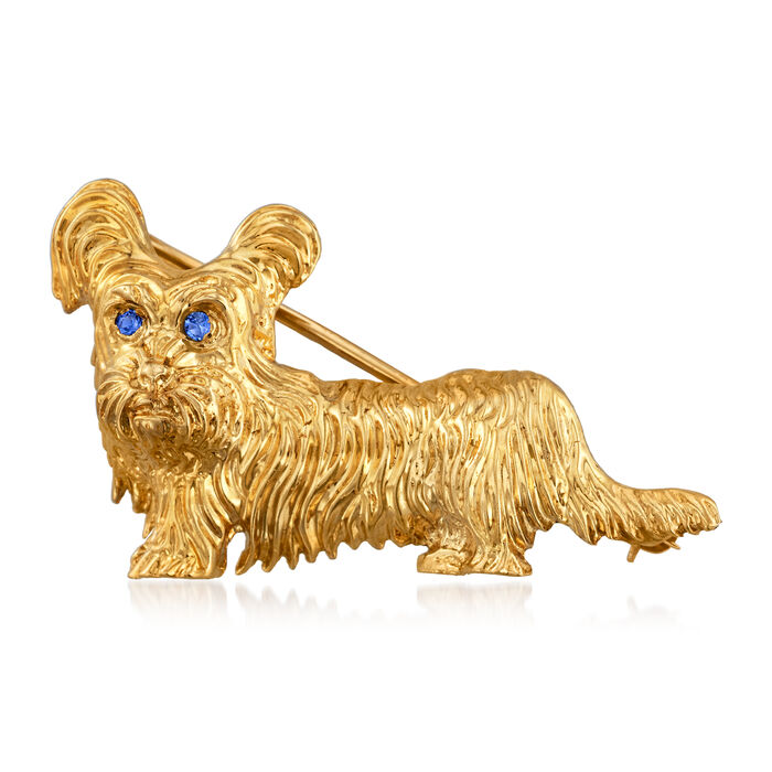 C. 1980 Vintage 14kt Yellow Gold Dog Pin with Sapphire-Accented Eyes