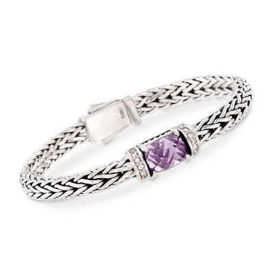 "Phillip Gavriel ""Woven"" 3.50 Carat Amethyst and .30 ct. t.w. White Sapphire Link Bracelet in Sterling Silver, , default"