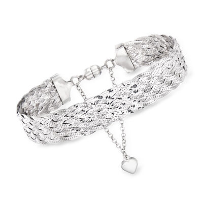 Italian Sterling Silver Braided Bracelet with Magnetic Clasp, , default