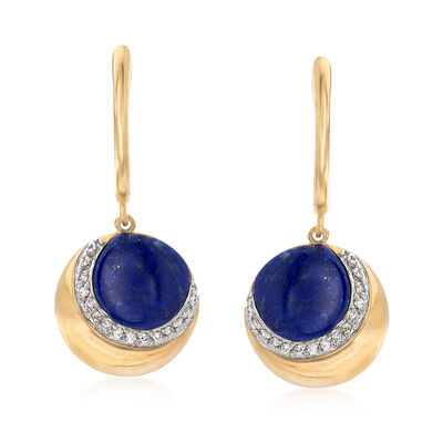 Lapis and .12 ct. t.w. Diamond Crescent Moon Drop Earrings in 14kt Yellow Gold, , default