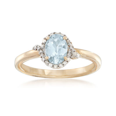.60 Carat Aquamarine and .12 ct. t.w. Diamond Ring in 14kt Yellow Gold, , default