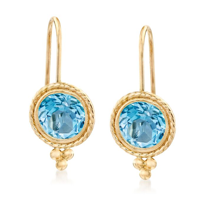 2.00 ct. t.w. Blue Topaz Drop Earrings in 14kt Yellow Gold, , default