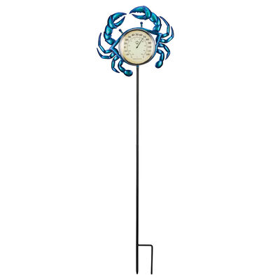 Regal Crab Thermometer Solar Garden Stake