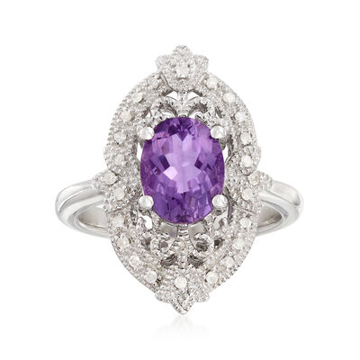 1.60 Carat Amethyst and .12 ct. t.w. Diamond Filigree Ring in Sterling Silver, , default