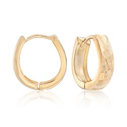 14kt Yellow Gold Diamond-Cut Petite Hoop Earrings, , default