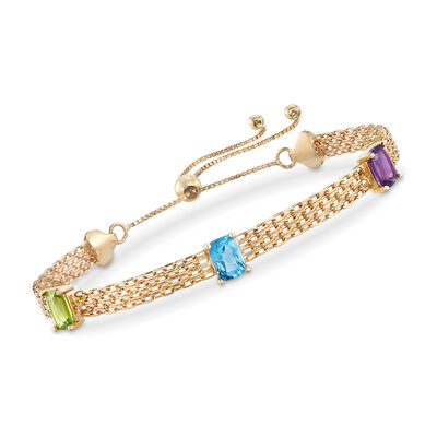 2.80 ct. t.w. Mixed Gemstone and Bismark-Link Bolo Bracelet in 14kt Yellow Gold, , default