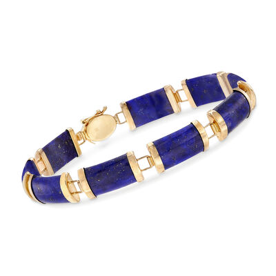 "Lapis and 14kt Yellow Gold ""Good Fortune"" Chinese Character Bracelet"