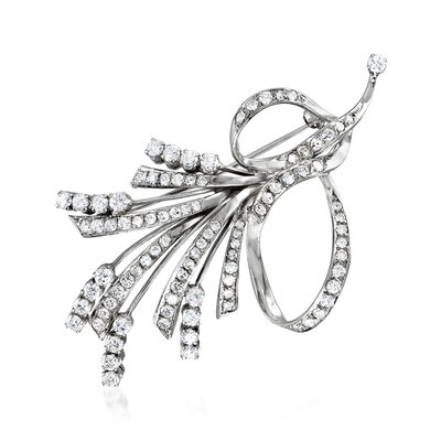 C. 1970 Vintage 3.50 ct. t.w. Diamond Ribbon Pin in 18kt White Gold, , default