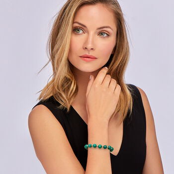 """90.00 ct. t.w. Emerald Bead Stretch Bracelet with 14kt Yellow Gold. 7"""""""