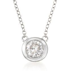 .60 Carat Bezel-Set Diamond Necklace in 14kt White Gold, , default