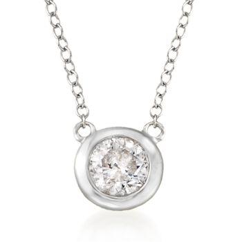 ".60 Carat Bezel-Set Diamond Necklace in 14kt White Gold. 16"", , default"