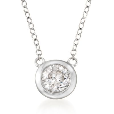 .60 Carat Bezel-Set Diamond Necklace in 14kt White Gold, , default