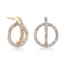 .50 ct. t.w. Diamond Circle and Bar Earrings in 14kt Yellow Gold, , default
