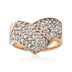 C. 1990 Vintage 1.15 ct. t.w. Diamond Crossover Ring in 14kt Yellow Gold. Size 7, , default