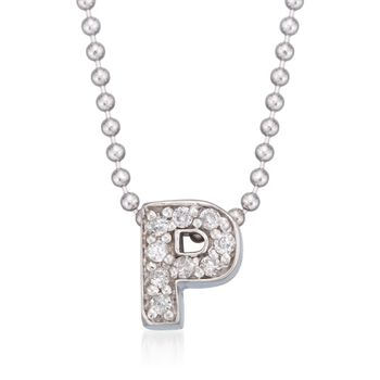 """Diamond Accent Initial """"P"""" Pendant Necklace in 14kt White Gold. 16"""", , default"""