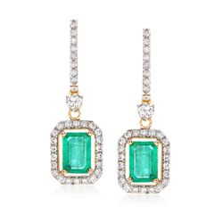 2.10 ct. t.w. Emerald and .90 ct. t.w. Diamond Drop Earrings in 14kt Yellow Gold, , default
